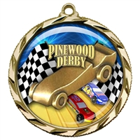"2-1/4"" Pinewood Derby Medal with Epoxy Dome 022-D70"