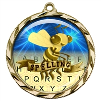 "2-1/4"" Spelling Bee Medal with Epoxy Dome 022-D77"