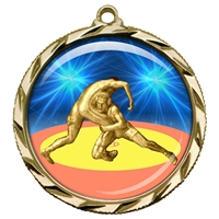 "2-1/4"" Wrestling Medal with Epoxy Dome 022-D90"