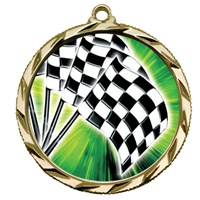 "2-1/4"" Bright Edge FCL Checkered Flags Medal 022-FCL20"