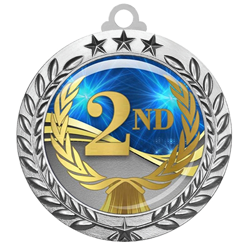 "2-3/4"" 2nd Place Medal with Epoxy Dome 030-D02"