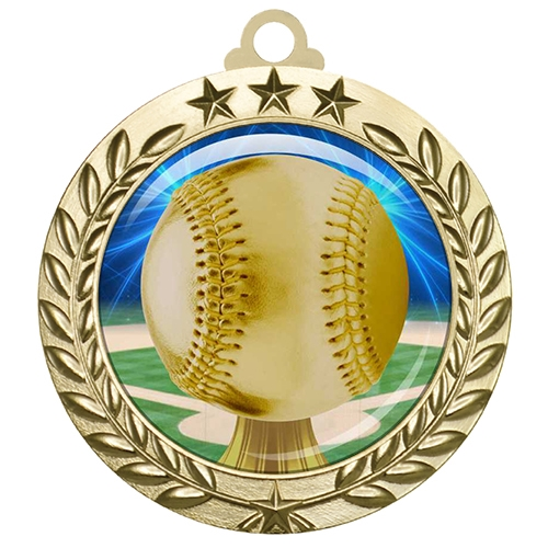 "2-3/4"" Baseball Medal with Epoxy Dome 030-D05"