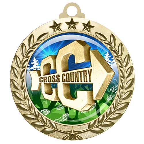 "2-3/4"" Cross Country Medal with Epoxy Dome 030-D18"