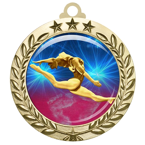 "2-3/4"" Female Gymnastics Medal with Epoxy Dome 030-D22"