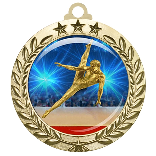 "2-3/4"" Male Gymnastics Medal with Epoxy Dome 030-D24"