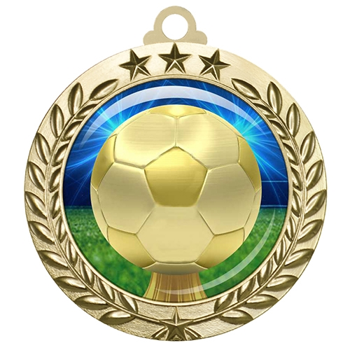 "2-3/4"" Soccer Medal with Epoxy Dome 030-D30"