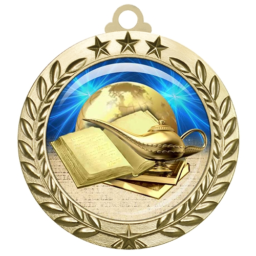 "2-3/4"" Book & Lamp Medal with Epoxy Dome 030-D40"