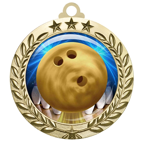 "2-3/4"" Bowling Medal with Epoxy Dome 030-D60"