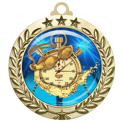 "2-3/4"" Swimming Medal with Epoxy Dome 030-D65"