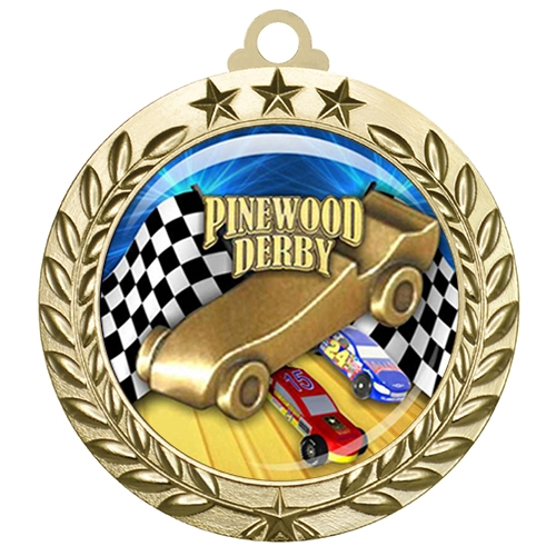 "2-3/4"" Pinewood Derby Medal with Epoxy Dome 030-D70"