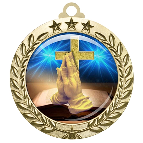 "2-3/4"" Religious Medal with Epoxy Dome 030-D75"