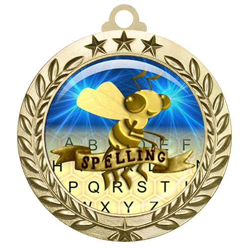 "2-3/4"" Spelling Bee Medal with Epoxy Dome 030-D77"