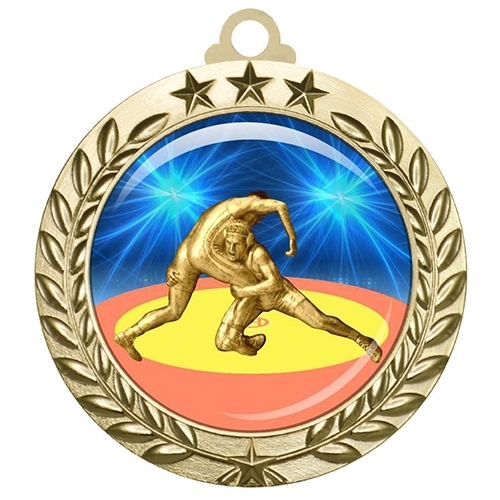 "2-3/4"" Wrestling Medal with Epoxy Dome 030-D90"