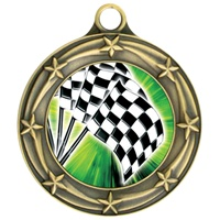 "3"" Star Full Color Checkered Flag Medals 033A-FCL-20"