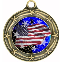 "3"" Star Full Color American Flag Medals 033A-FCL-570"