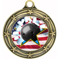 "3"" Star Flag Bowling Medal 033A-FCL-706"