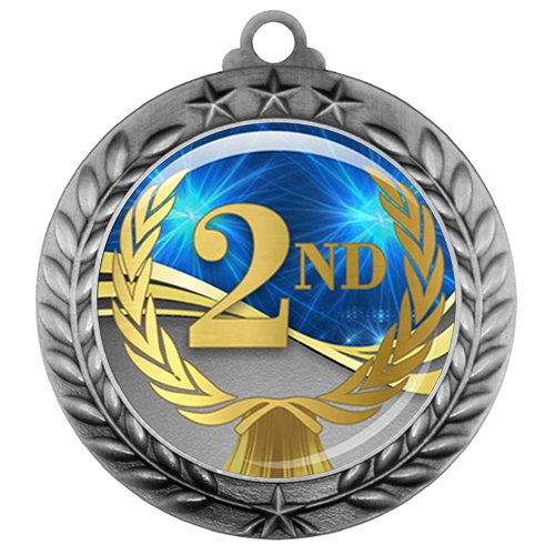 "2-3/4"" 2nd Place Medal with Epoxy Dome 039-D02"