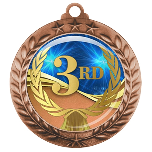 "2-3/4"" 3rd Place Medal with Epoxy Dome 039-D03"