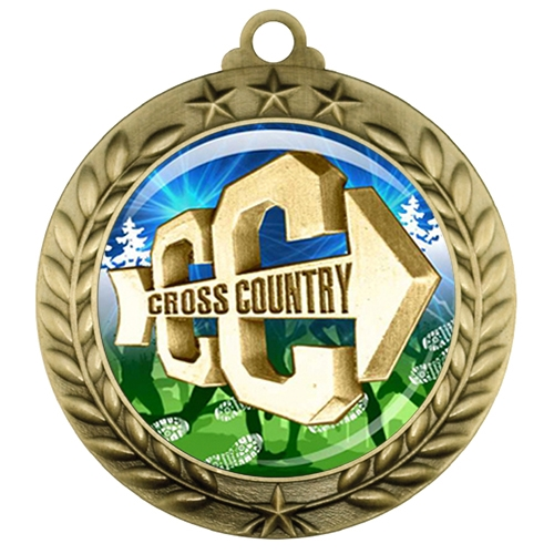 "2-3/4"" Cross Country Medal with Epoxy Dome 039-D18"