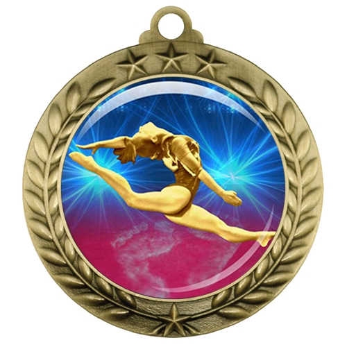 "2-3/4"" Female Gymnastics Medal with Epoxy Dome 039-D22"