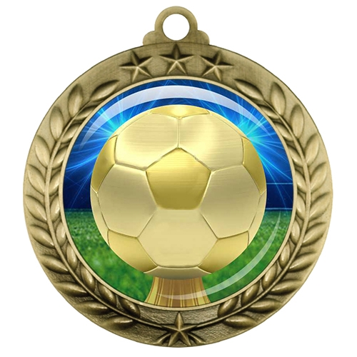 "2-3/4"" Soccer Medal with Epoxy Dome 039-D30"