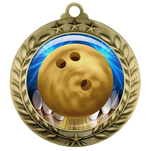 "2-3/4"" Bowling Medal with Epoxy Dome 039-D60"