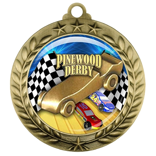 "2-3/4"" Pinewood Derby Medal with Epoxy Dome 039-D70"