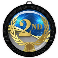 "2-1/2"" Black 2nd Place Medal with Epoxy Dome 052-D02"