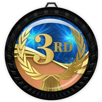 "2-1/2"" Black 3rd Place Medal with Epoxy Dome 052-D03"