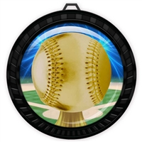 "2-1/2"" Black Baseball Medal with Epoxy Dome 052-D05"