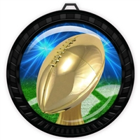 "2-1/2"" Black Football Medal with Epoxy Dome 052-D20"