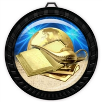 "2-1/2"" Black Book & Lamp Medal with Epoxy Dome 052-D40"