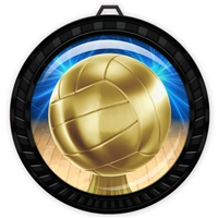 "2-1/2"" Black Volleyball Medal with Epoxy Dome 052-D45"