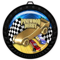 "2-1/2"" Black Pinewood Derby Medal with Epoxy Dome 052-D70"