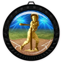 "2-1/2"" Black T-Ball Tee Ball Medal with Epoxy Dome 052-D82"