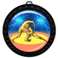 "2-1/2"" Black Wrestling Medal with Epoxy Dome 052-D90"