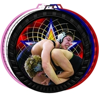 "2-1/2"" Color Wrestling Medal 052-FCL577"