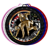 "2-1/2"" Color Burst Wrestling Medal 052-FCL790"