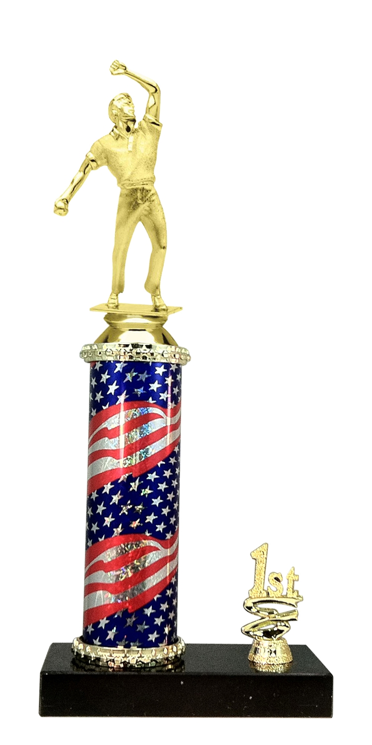 1st - 5th Place Flag Riser Cricket Bowler Trophy