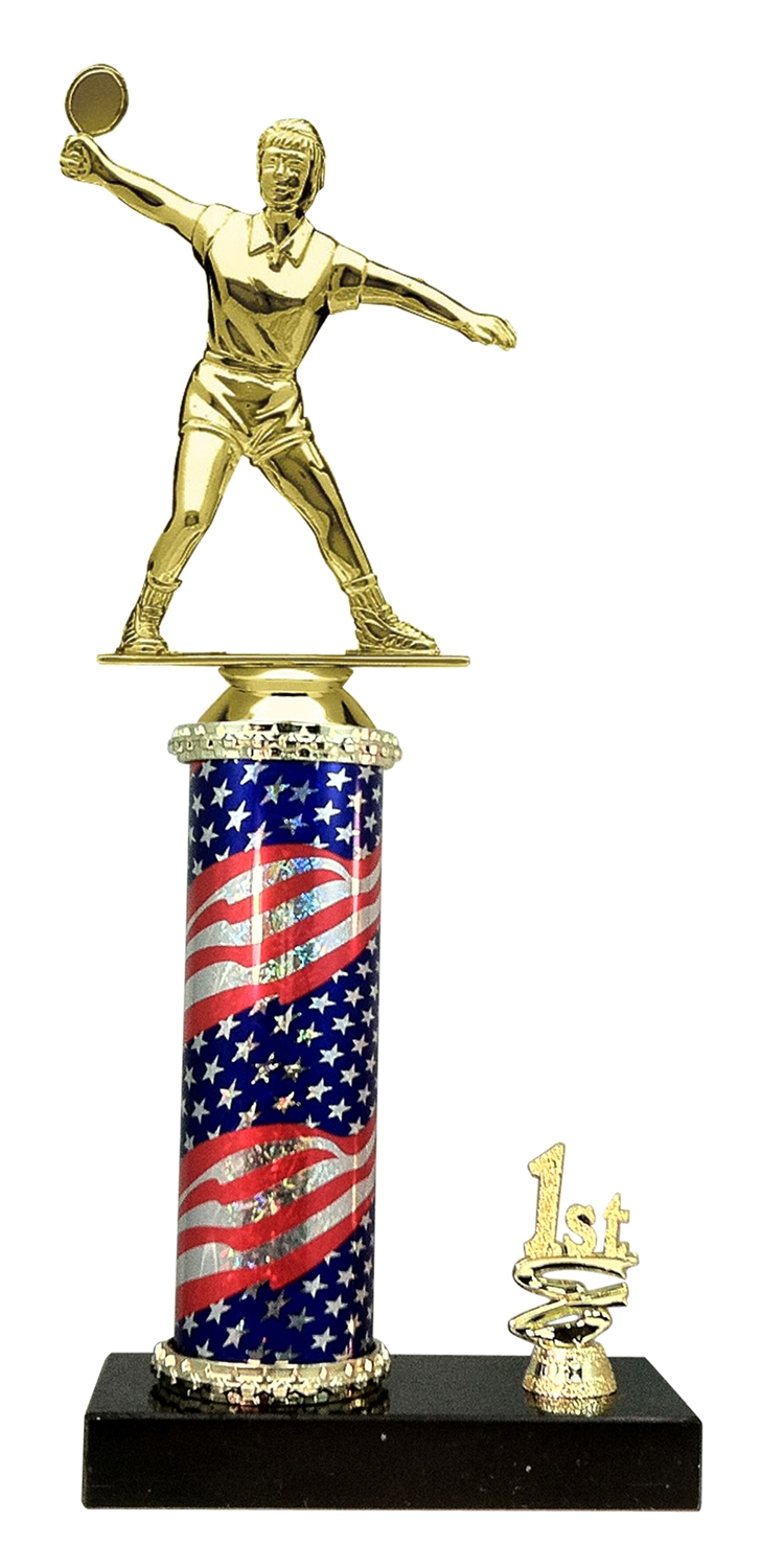 Female Ping Pong Trophy 1st 2nd 3rd Place on marble base in (3 - Sizes)