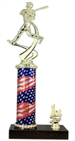 1st - 5th Place Flag Round Column Riser Baseball Trophy in 3 Sizes