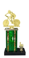 1st - 5th Place Moonbeam Riser Female Cycling Trophy in 3 Sizes - in 11 Color Options