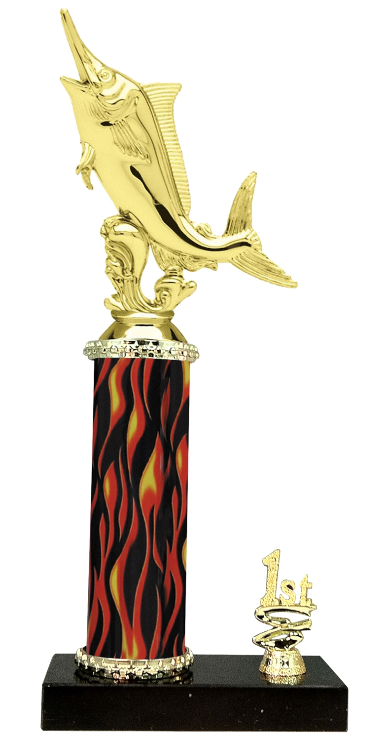 Marlin Trophy 1st 2nd 3rd Place on marble base in (3 - Sizes)