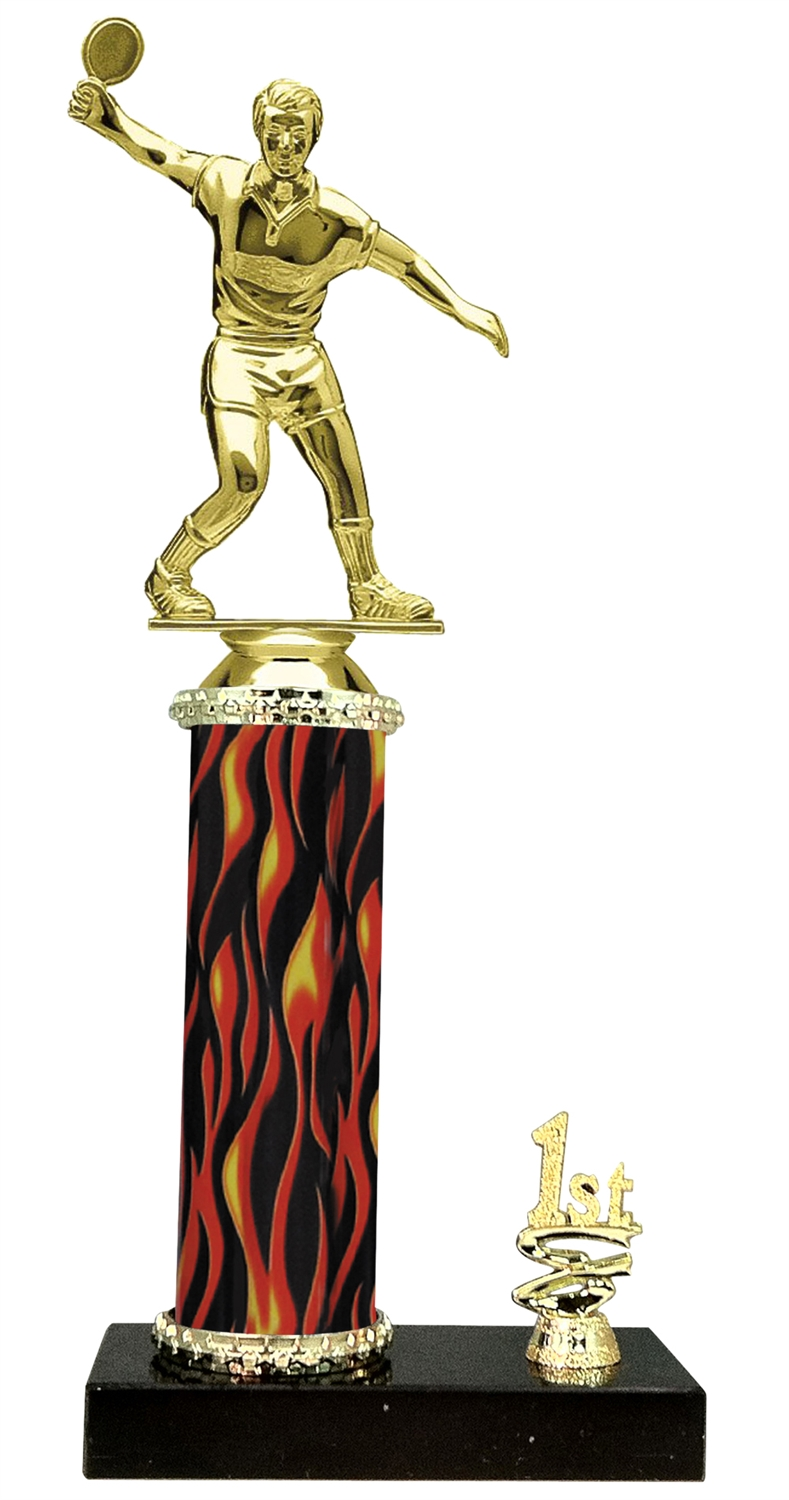 Male Ping Pong Trophy 1st 2nd 3rd Place on marble base in (3 - Sizes)