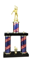 2 Column Flag PLUS Cricket Bowler Trophy