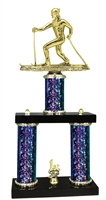 2 Column Starburst PLUS Cross Country Snow Ski Trophy in 5 Colors