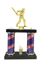 2 Column Flag Column Male Cricket Trophy