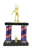 2 Column Flag Column Cricket Bowler Trophy