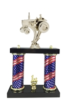 2 Column Flag Column Tractor Trophy