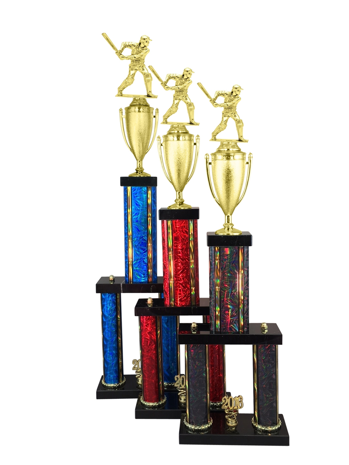 2 Column Male Cricket Trophy in 11 Color & 6 Size Options
